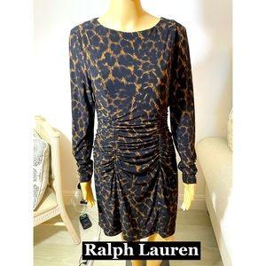 Ralph Lauren, Animal Print Ruched waist Sz 10